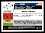 2006 Topps #305   -  Chuck James Rookie Card Back Thumbnail