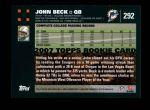 2007 Topps #292  John Beck  Back Thumbnail