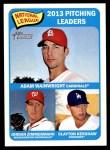 2014 Topps Heritage #10   -  Clayton Kershaw / Jordan Zimmermann / Adam Wainwright NL Pitching Leaders Front Thumbnail