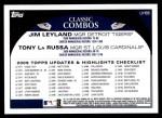 2009 Topps Update #88  Jim Leyland / Tony La Russa  Back Thumbnail
