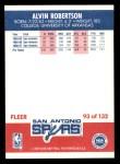 1987 Fleer #93  Alvin Robertson  Back Thumbnail