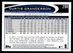 2012 Topps #290  Curtis Granderson  Back Thumbnail