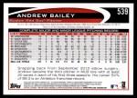 2012 Topps #539  Andrew Bailey  Back Thumbnail