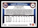 2011 Topps #58  Prince Amukamara  Back Thumbnail