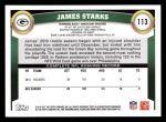 2011 Topps #113  James Starks  Back Thumbnail