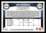 2011 Topps #278  Ben Obomanu  Back Thumbnail