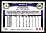 2011 Topps #408  Ed Reed  Back Thumbnail