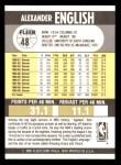 1990 Fleer #48  Alex English  Back Thumbnail
