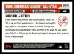 2006 Topps Update #219   -  Derek Jeter All-Star Back Thumbnail