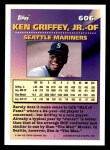 1994 Topps #606   -  Ken Griffey Jr. Measures of Greatness Back Thumbnail