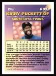 1994 Topps #607   -  Kirby Puckett Measures of Greatness Back Thumbnail