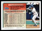 1994 Topps #702  Tony Fernandez  Back Thumbnail