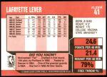 1989 Fleer #41  Lafayette Lever  Back Thumbnail