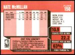 1989 Fleer #150  Nate McMillan  Back Thumbnail