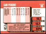 1989 Fleer #36  Sam Perkins  Back Thumbnail
