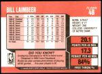 1989 Fleer #48  Bill Laimbeer  Back Thumbnail