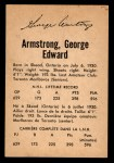 1962 Parkhurst #13  George Armstrong  Back Thumbnail