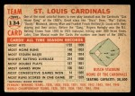 1956 Topps #134 WHT  Cardinals Team Back Thumbnail
