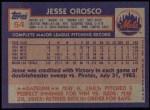 1984 Topps #54  Jesse Orosco  Back Thumbnail