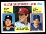 1984 Topps #707   -  Tom Seaver / Steve Carlton / Nolan Ryan NL Active Strikout Leaders Front Thumbnail