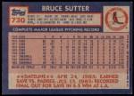 1984 Topps #730  Bruce Sutter  Back Thumbnail