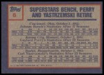 1984 Topps #6   -  Johnny Bench / Gaylord Perry / Carl Yastrzemski 1983 Highlight - 3 Superstars Retire Back Thumbnail