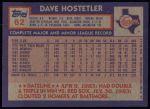 1984 Topps #62  Dave Hostetler  Back Thumbnail