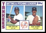 1984 Topps #486   -  Ron Guidry / Don Baylor Yankees Leaders & Checklist Front Thumbnail