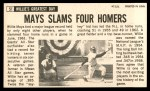 1964 Topps Giants #51  Willie Mays  Back Thumbnail
