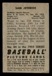 1952 Bowman #84  Sam Jethroe  Back Thumbnail