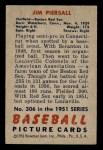1951 Bowman #306  Jimmy Piersall  Back Thumbnail