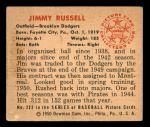 1950 Bowman #223 CR Jim Russell  Back Thumbnail