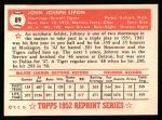 1952 Topps REPRINT #89  Johnny Lipon  Back Thumbnail