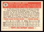 1952 Topps REPRINT #281  Tom Brown  Back Thumbnail