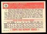 1952 Topps REPRINT #136  Johnny Schmitz  Back Thumbnail