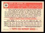 1952 Topps REPRINT #306  Lou Sleater  Back Thumbnail