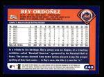 2003 Topps #240  Rey Ordonez  Back Thumbnail
