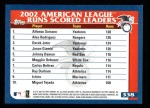 2003 Topps #338   -  Alfonso Soriano / Alex Rodriguez / Derek Jeter AL Runs Leaders Back Thumbnail