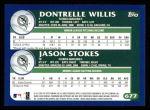 2003 Topps #677   -  Prospects - Dontrelle Willis / Jason Stokes Marlin Prospects Back Thumbnail