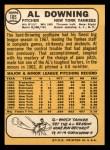 1968 Topps #105 A Al Downing  Back Thumbnail