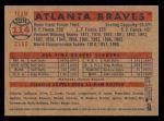 2006 Topps Heritage #114   Atlanta Braves Team Back Thumbnail