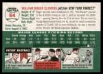 2003 Topps Heritage #54  Roger Clemens  Back Thumbnail