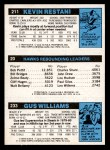 1980 Topps   -  Gus Williams / Dan Roundfield / Kevin Restani 233 / 20 / 211 Back Thumbnail