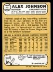 1968 Topps #441  Alex Johnson  Back Thumbnail
