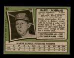 1971 Topps #84  Marcel Lachemann  Back Thumbnail