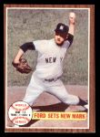 1962 Topps #235   -  Whitey Ford 1961 World Series - Game #4 - Ford Sets New Mark Front Thumbnail