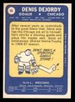 1969 Topps #66  Denis DeJordy  Back Thumbnail