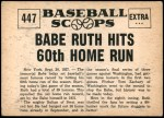1961 Nu-Card Scoops #447   -   Babe Ruth Hits 60th Home Run Back Thumbnail