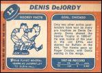 1968 Topps #12  Denis DeJordy  Back Thumbnail