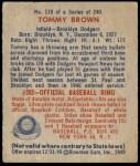 1949 Bowman #178  Tommy Brown  Back Thumbnail